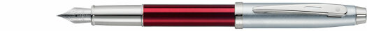 Ручка Sheaffer 100 Brushed Chrome Plated Cap Red Barrel Nickel Plate